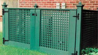 Enclosure Fence of Privacy Lattice for HVAC